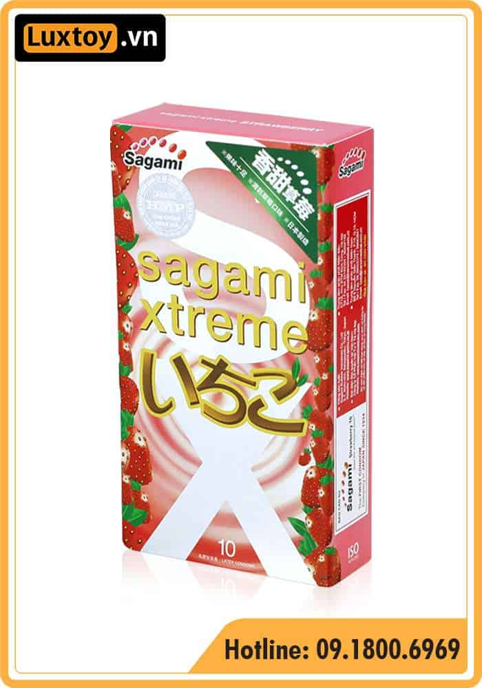bao cao su Sagami Strawberry Xtreme hương dâu