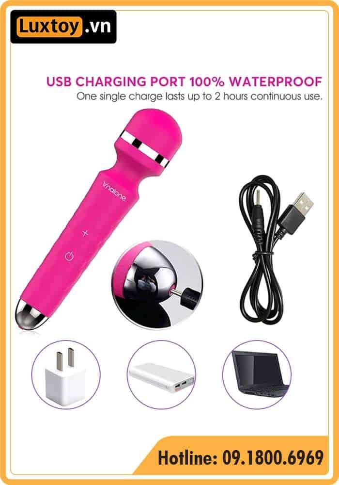 Chày rung tình yêu Nalone Sinmis hỗ trợ cổng sạc USB