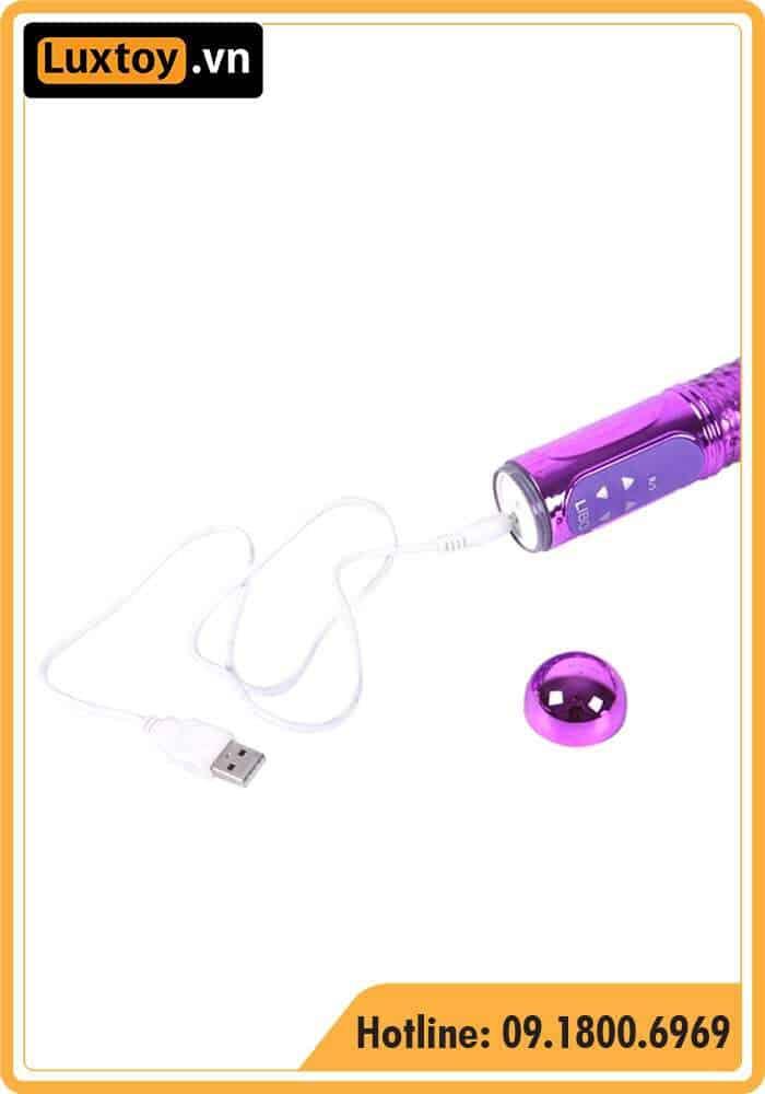 dương vật giả Thrusting Butterfly Vibrator hỗ trợ sạc nhanh cổng USB