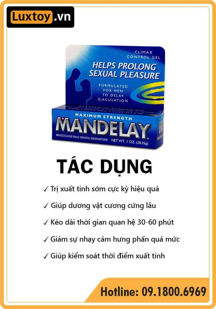 Tác dụng của gel chống xuất tinh sớm ManDelay