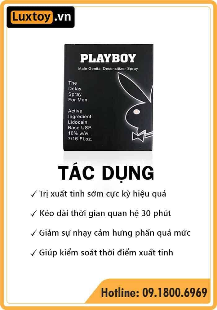 tác dụng của thuốc tê dạng xịt Playboy