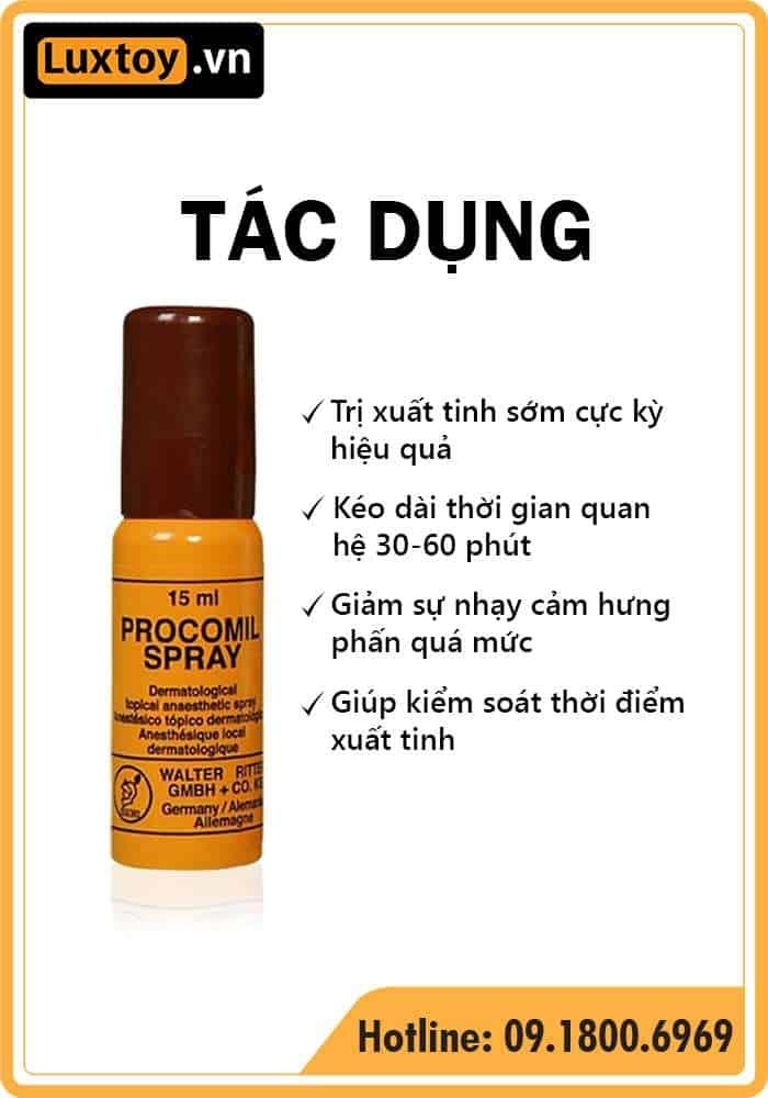 Tác dụng của thuốc tê dạng xịt Procomil Spray