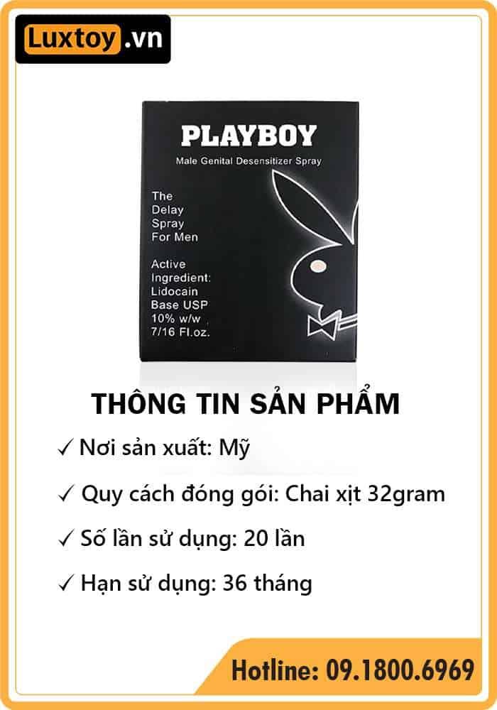 thông tin sản phẩm thuốc tê dạng xịt Playboy