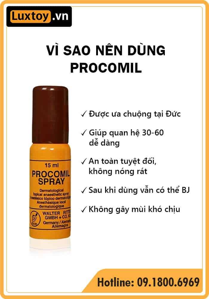 Thuốc tê dạng xịt Procomil Spray có tốt không